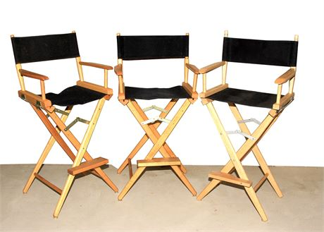 Three Bar Height Directors Chairs - Like New